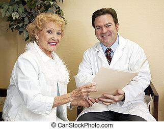 heureux, docteur, patient