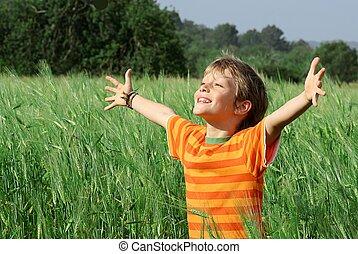 heureux, enfant, été, sain