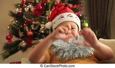 heureux, enfant, chapeau, santa
