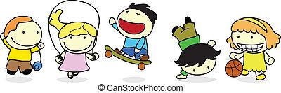heureux, enfants, activité