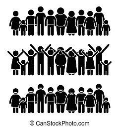 heureux, enfants, debout, groupe