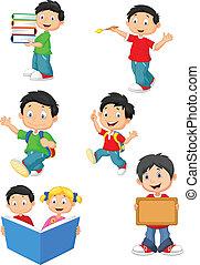 heureux, enfants, dessin animé, école, colle