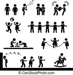 heureux, enfants jouer, pictogramme
