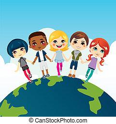 heureux, enfants, multi-ethnique