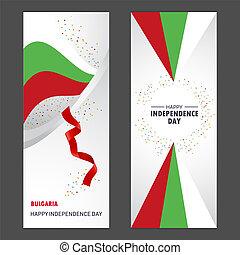 heureux, ensemble, vertical, fond, confetti, bulgarie, bannière, jour, indépendance, célébration
