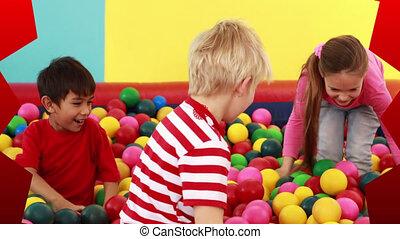 heureux, fête, amusement, balles, animation, divers, enfants, avoir