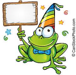 heureux, fête, grenouille, enseigne