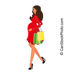 heureux, femme enceinte