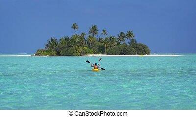 heureux, fermé, touristes, île, paradis, kayaking, maldives, eaux