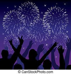 heureux, feux artifice, gens