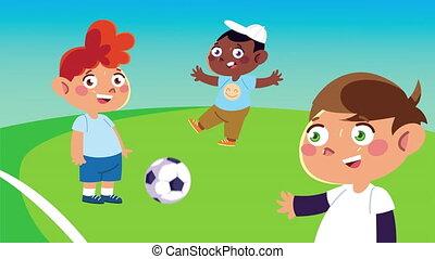 heureux, football, caractères, animation, gosses, peu, jouer