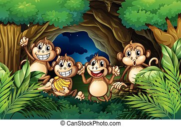 heureux, forêt, profond, singes