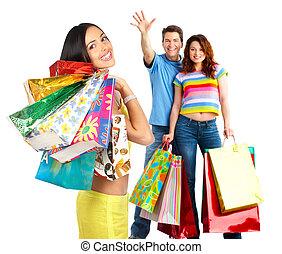 heureux, gens, achats