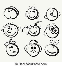 heureux, gens, figure, icône