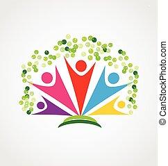 heureux, gens, logo, arbre, collaboration