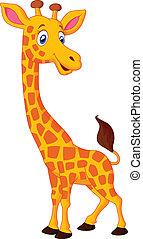 heureux, girafe, dessin animé