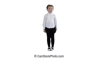 heureux, girl, blanc, enfant, rire, arrière-plan.