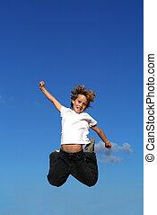 heureux, gosse, ou, sauter, enfant