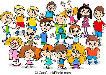 heureux, groupe, dessin animé, caractères, enfants
