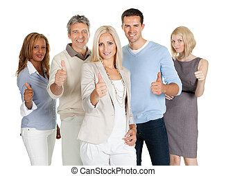 heureux, groupe, professionnels