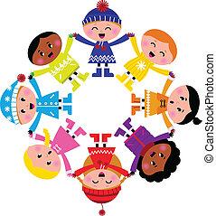 heureux, hiver, isolé, cercle, dessin animé, gosses, blanc