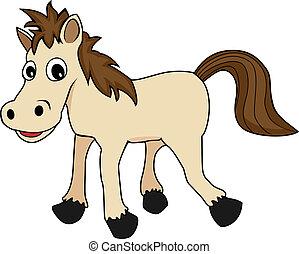 heureux, illustration, cheval, mignon, brun, dessin animé, regarder