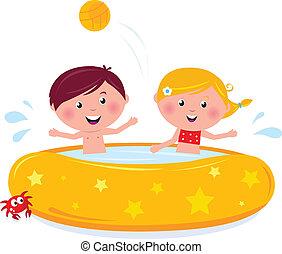 heureux, illustration, natation, été, sourire, vector., piscine, dessin animé, gosses