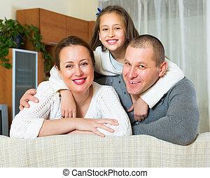 heureux, intérieur domestique, famille