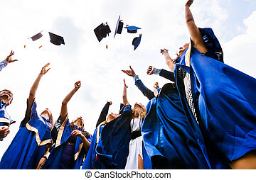 heureux, jeune, diplômés, groupe