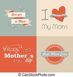 heureux, jour, mères, retro