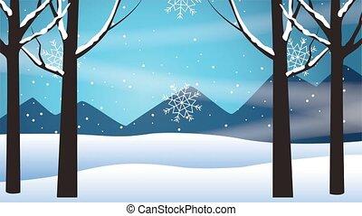 heureux, joyeux, scène, snowscape, carte, noël