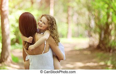 heureux, marche, enfant, dehors, mère