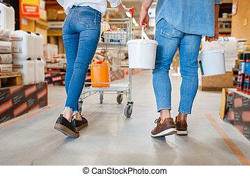 heureux, matériel, charrette, consommateurs, magasin