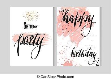heureux, moderne, white., couleurs, gabarit, fête, isolé, anniversaire, main, invitations, lettrage, cartes, vecor, phases, dessiné, résumé, pastel, artistique, aquarelle, salutation, encre