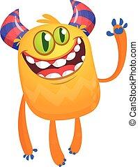 heureux, monster., dessin animé, vecteur, caractère