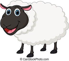 heureux, mouton, dessin animé
