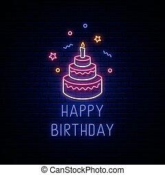 heureux, néon, anniversaire, signboard., incandescent