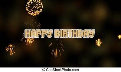 heureux, noir, feud'artifice, texte, lettres, bannière, vidéo, en mouvement, anniversaire, film, fête, réaliste, fond, lumières, animé, flou, feud'artifice
