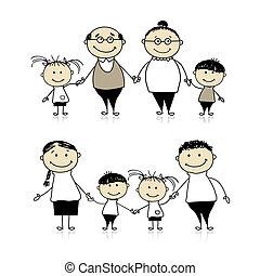 heureux, -, parents, ensemble, grands-parents, famille, enfants