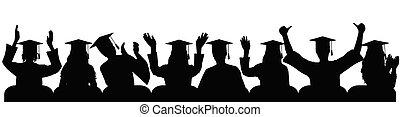 heureux, paumes, applaudir, illustration., université, joie, main, diplômé, gai, silhouettes, close-up., vecteur