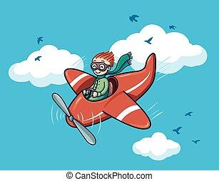 heureux, pilote