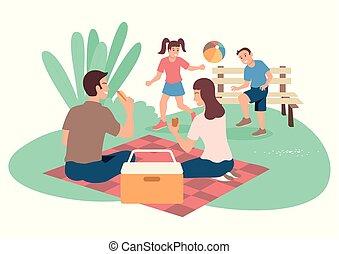 heureux, pique-nique, famille