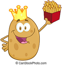 heureux, pomme terre, couronne