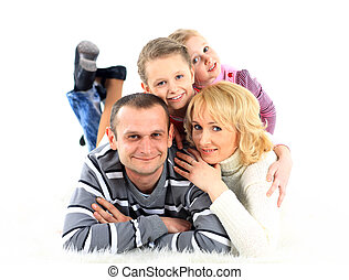 heureux, pose, famille, plancher
