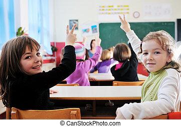 heureux, prof, école, classe