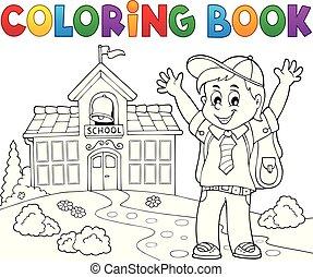 heureux, pupille, thème, 2, garçon, livre coloration