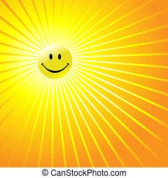 heureux, radiant, visage smiley