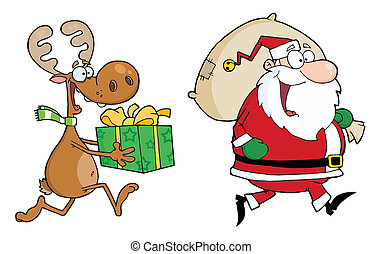 heureux, renne, claus, santa