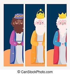 heureux, sage, trois, caractères, rois, dessin animé, épiphanie