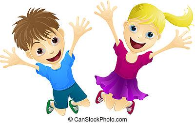 heureux, sauter, enfants, air
